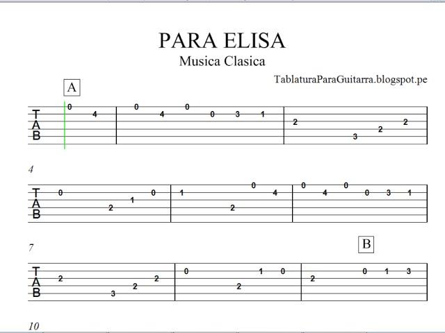 Para Elisa - Tablatura para Guitarra