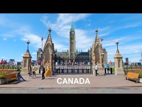 Ottawa - Parliament of Canada, Sparks Street, Wellington St City Walk Ottawa Canada Travel 4K
