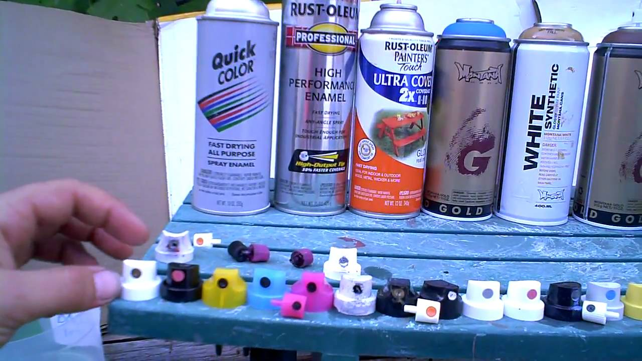 Thinning Rustoleum Paint For Spraying Part - 25: Aerosal Art Cap Test On Montana And Rustoleum Cans