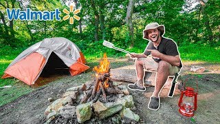 CHEAP Walmart OVERNIGHT Camṗing Challenge!!! (In the Woods)