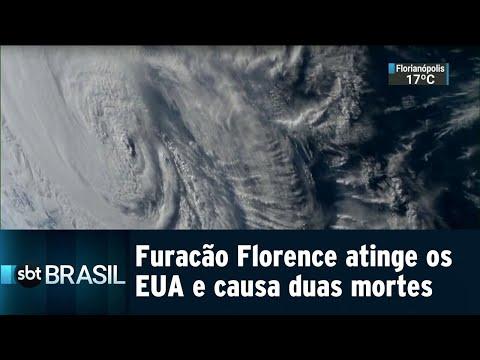 Furacão Florence atinge os EUA e causa duas mortes | SBT Brasil (14/09/18)