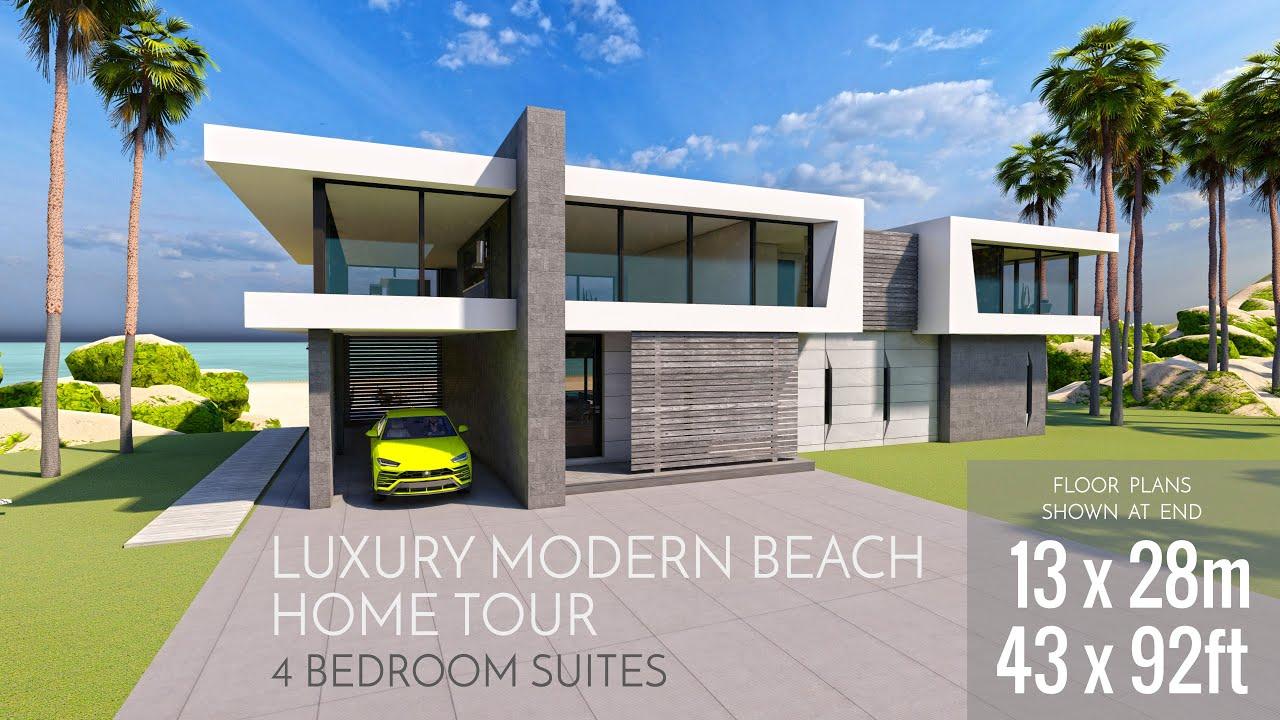 Modern Minimalist Beach House Design Mansion Tour W Plans Architecture Design Walk Through 43x92ft Youtube