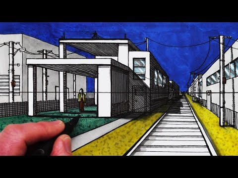 How to Draw a Modern House in 1-Point Perspective with Train Track