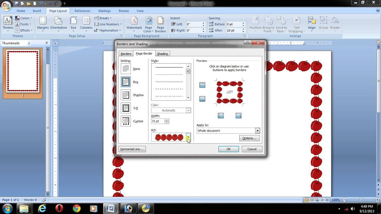 ms office 2007 in telugu- word- page layout- page border