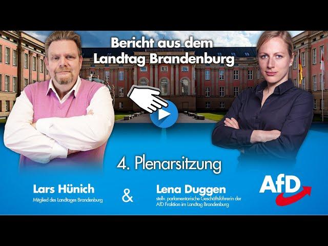 Bericht aus dem Landtag Brandenburg: 4.Plenarsitzung