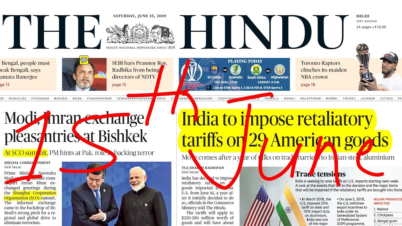 The Hindu Newspaper 15th June 2019 | Daily Current Affairs