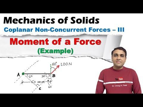 Moment of a Force (Ex.) I Coplaner Non-Concurent Forces I Mechanics of Solids I  Lect. 25