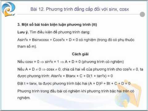09  Phuong trinh dang cap doi voi xinx, cosx