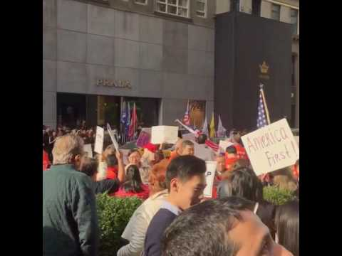 Trump supporters outside of Trump Tower