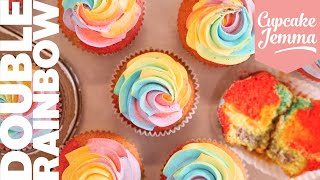 Double Rainbow Cupcakes! | Bake with Sally | Cupcake Jemma