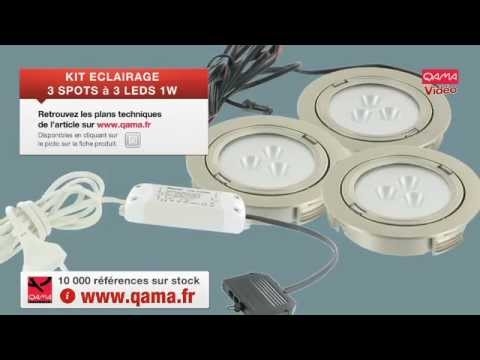 Spot leds kit 3 spots encastrables 3 leds de 1 watts par qama youtube - Branchement spot encastrable ...