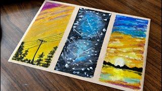 3つの簡単な描画のアイデア - オイルパステル初心者