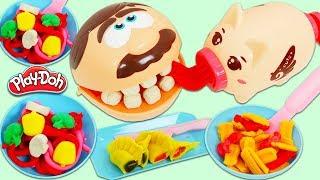 Feeding Mr. Play Doh Head Using Cute Pig Play Doh Spaghetti Extruder!