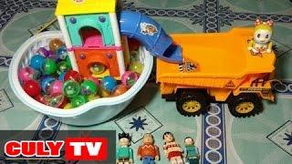 xe chở cát làm nhà banh cầu tuột cho nobita và xuka - make ball house toy for kids