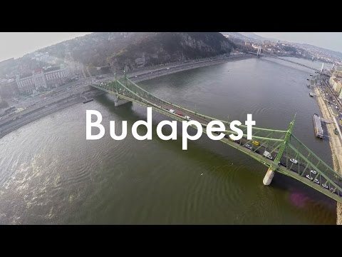 Drone view of Budapest Szabadság Bridge and Danube River
