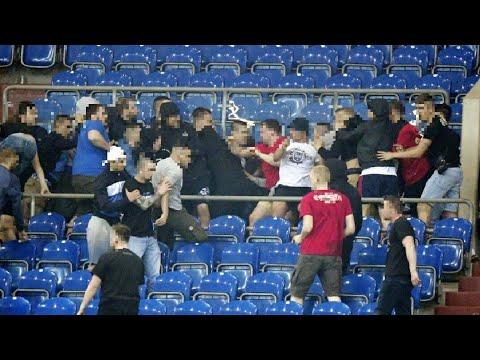 Fight after the match Schalke 04 - Eintracht Frankfurt. 18.04.2018