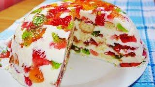 видео Желейный торт со сметаной и бисквитом