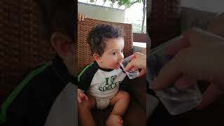 How cute baby drink water