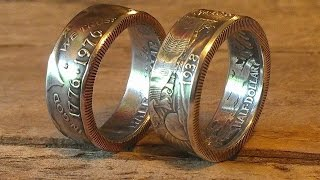 How to make a walking liberty  half dollar double sided coin rings without hammering