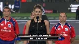 Lizzie Marvelly - New Zealand National Anthem, NZ v Eng June 7, 2014