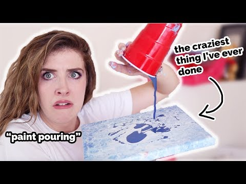 The MESSIEST Art EVER?! TRYING ACRYLIC POURING!