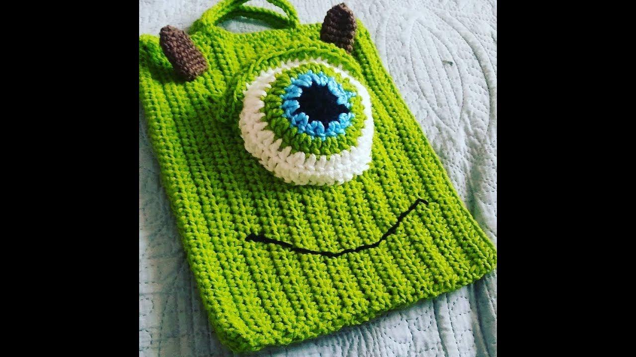 db3d34229af Crochet EASY Trick or Treat HALLOWEEN Bag Monsters Inc. - YouTube