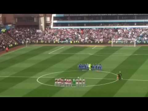 Villa v Blues coming onto the pitch plus Ugo Ehiogu tribute