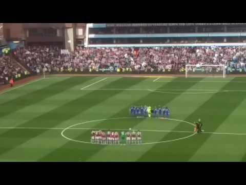 Villa v Blues coming onto the pitch plus Ugo Ehiogu tribute
