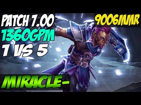 Patch 7.00 : 1 VS 5 Miracle- 9k MMR Plays Anti-Mage With 1360 GPM