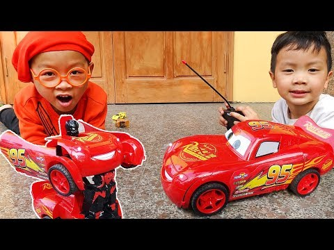 Car video for kids Lightning Mcqueen Transformer Remote Control Car with Dave Mario and brother