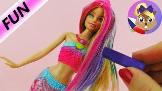 Barbie Mořská panna s duhovými vlasy | Makeover s barevnou křídou na vlasy
