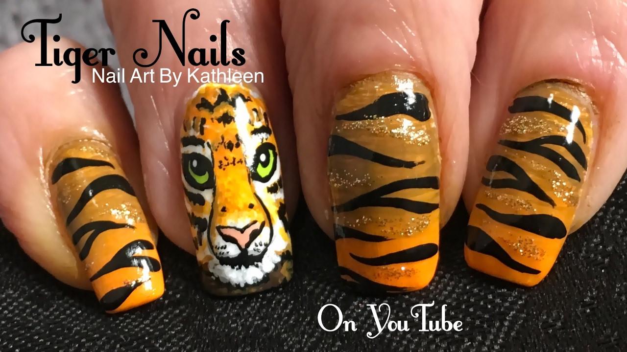 Tiger Nail Art Tutorial - DIY Freehand Tiger Face ...