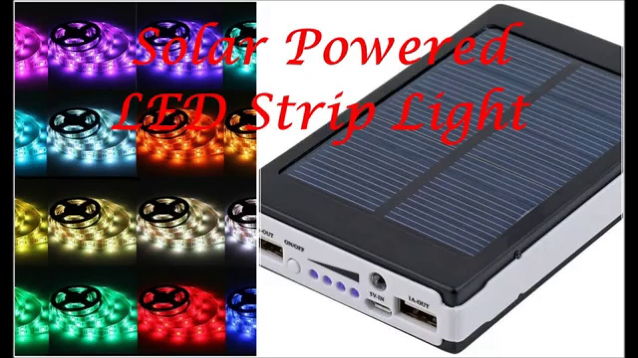 Solar battery powered 5050 rgb led strip light kit waterproof solar battery powered 5050 rgb led strip light kit waterproof usb power bank youtube aloadofball Choice Image