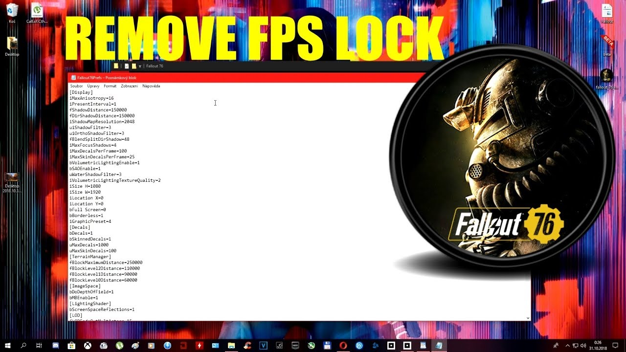 Fallout 76 BETA: Remove FPS Lock / better fps