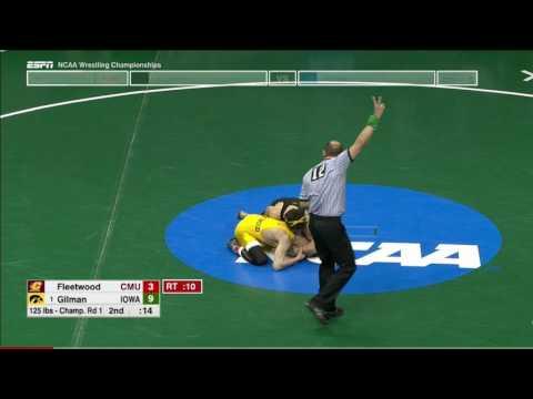 2017 NCAA Wrestling 125lbs: Thomas Gilman (Iowa) vs Brent Fleetwood (Central Michigan)