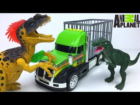 UNBOXING ANIMAL PLANET DINO TRANSPORT MISSION & STORY WITH T-REX VELOCIRAPTOR & BRACHIOSAURUS