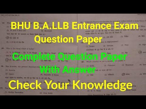 BHU B A LLB Entrance Exam Paper