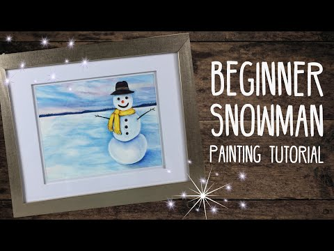 Beginner Snowman Watercolor/Prismacolor Painting Tutorial – By Artist, Andrea Kirk | The Art Chik
