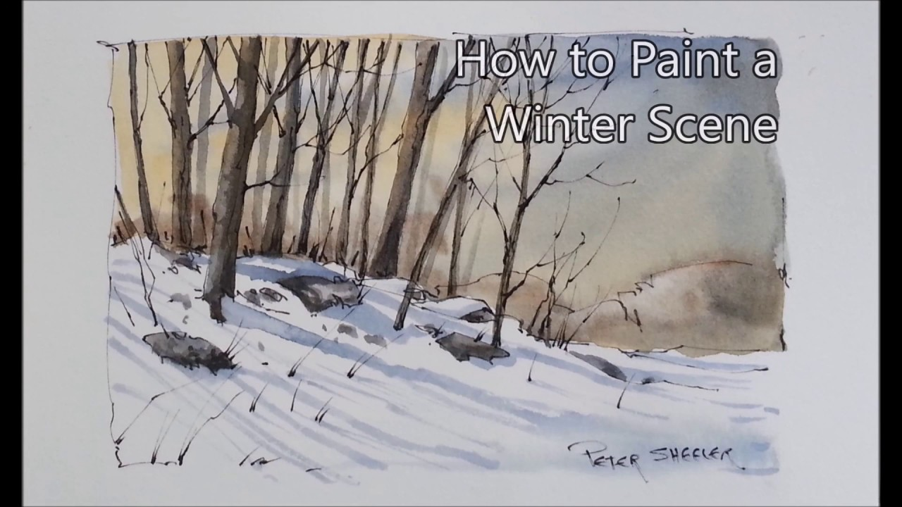 How To Paint Winter Shadows And Trees Line And Wash Just