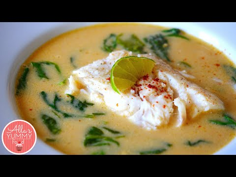 Coconut Milk Poached Cod With Spinach - Треска в кокосовом молоке