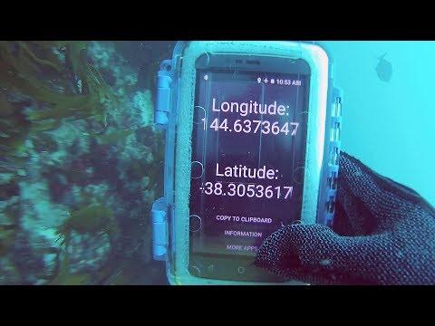 Scuba diving with an underwater GPS (sorta) mobile phone in waterproof case & GoPro GPS