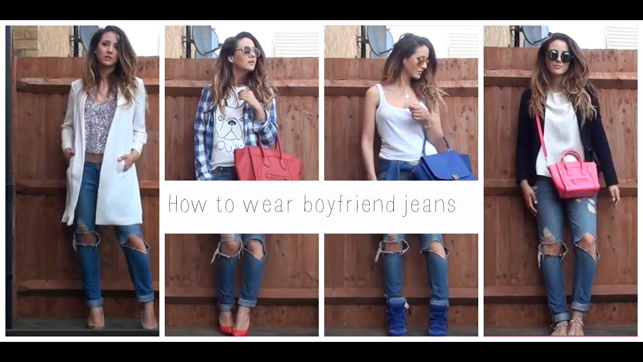 How to wear 1 boyfriend jeans 5 different ways - YouTube