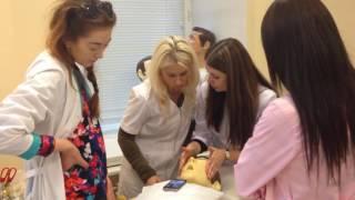 АирисКом: обучение студентов; урок по косметологии; массаж лица на фантоме