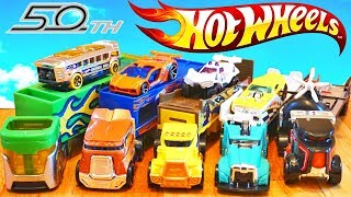 Hot Wheels 50th Annviersary Trucks Race Down a speed track with Cars