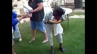 The Demons Invite A FOOL ASS NIGGER To A Watermelon Eating Contest.