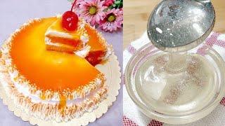অরেঞ্জ কেক ডেকোরেশন|কর্ন সিরাপ আর অরেঞ্জ জেল রেসিপি সহ|Orenge cake||Corn Syrup||Orenge jell Recipe||