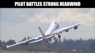 Airplane Battles Strong Headwind From Takeoff