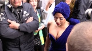 Lady Gaga and her super sexy cleavage entering her hotel in Brussels