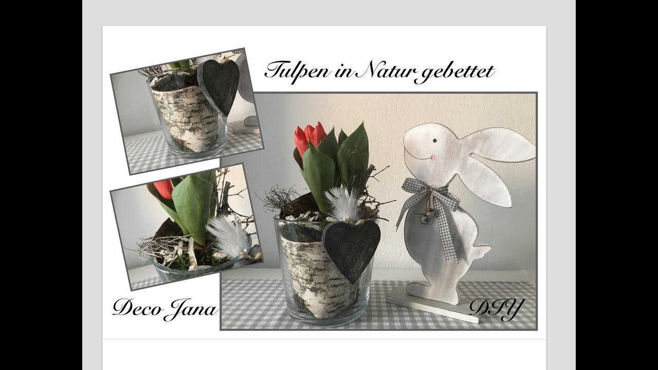 Diy Fruhlingshafte Tischdeko Tulpen In Natur Gebettet Deko Jana