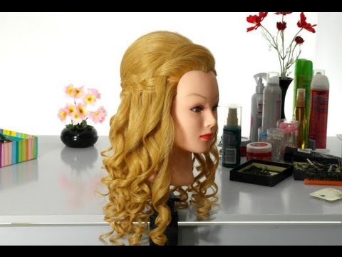 Romantic hairstyle with french waterfall braid for long hair